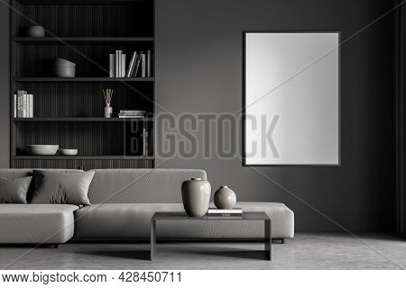 Vertical Banner In The Dark Grey Living Room With Sofa, Niche Bookcase And Coffee Table. Dark Grey I