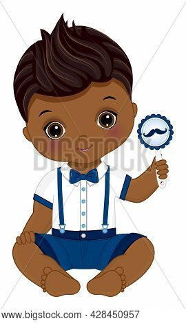 Cute Black Little Man Holding Rattle With Moustache Image. African American Baby Boy Wearing Fashion
