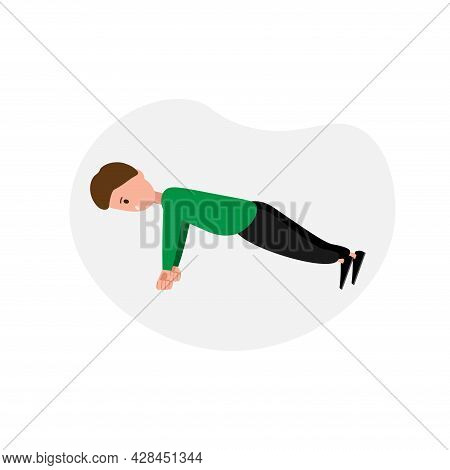 Chest Exercise, Push Training Clipart. Push Up Simple Vector Clipart.