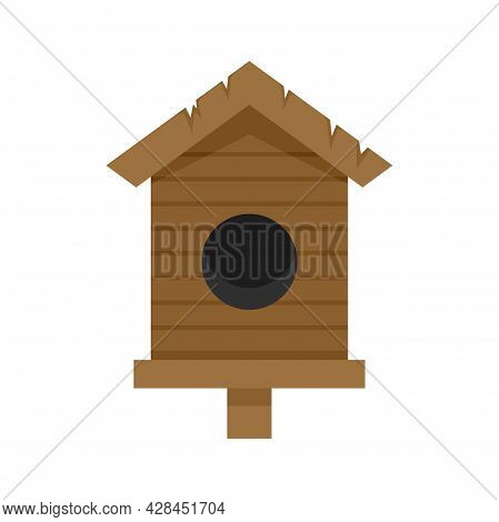 Old Bird House Icon. Flat Illustration Of Old Bird House Vector Icon Isolated On White Background