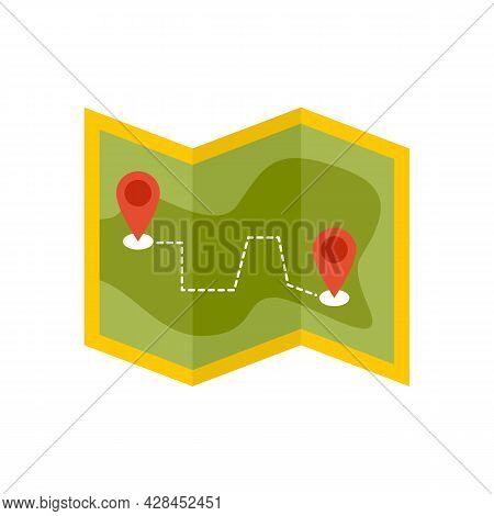 Hiking Map Icon. Flat Illustration Of Hiking Map Vector Icon Isolated On White Background