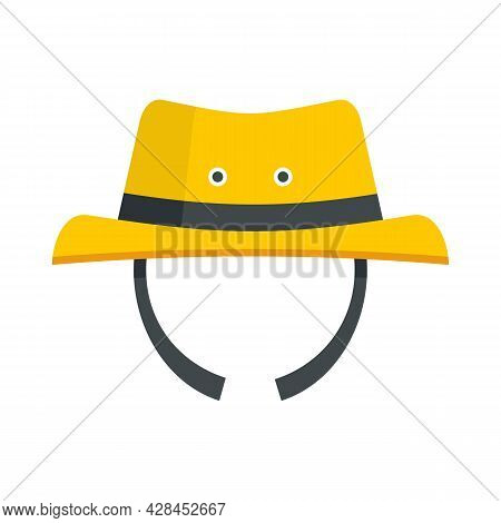 Hiking Man Hat Icon. Flat Illustration Of Hiking Man Hat Vector Icon Isolated On White Background