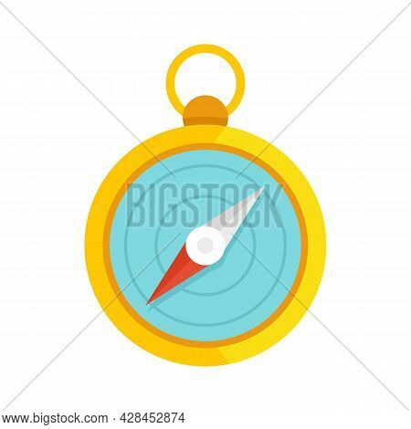 Hiking Hand Compass Icon. Flat Illustration Of Hiking Hand Compass Vector Icon Isolated On White Bac