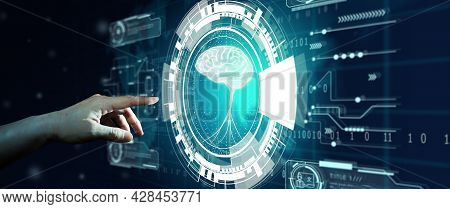 Hand Of Businessman Touching Hologram Screen With World Map Background. Nlp Natural Language Process