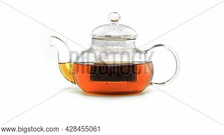 Transparent Teapot With Tea On A White Background.