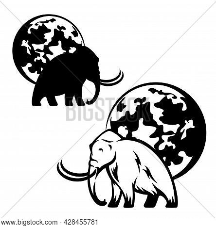 Walking Mammoth And Full Moon Black And White Vector Design - Prehistoric Ice Age Animal Outline And