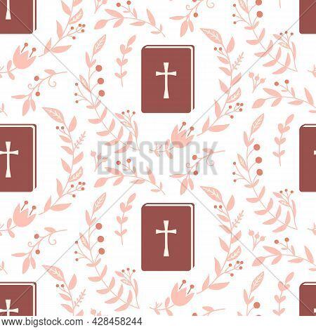 Christian Seamless Pattern Background With Cross And Bible