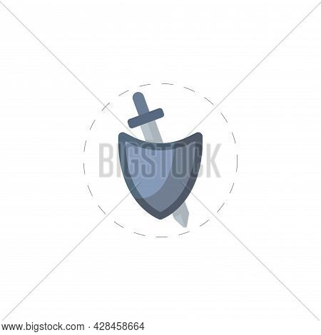 Sword With Shield Clipart. Sword With Shield Simple Vector Clipart. Sword With Shield Isolated Clipa