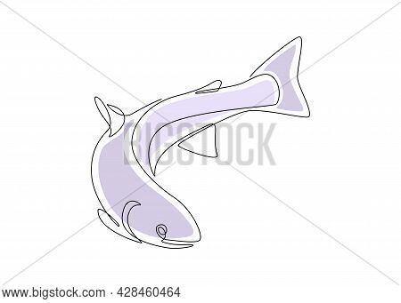 Salmon Fish In One Continuous Line Drawing. Wild Trout In Linear Sketch Style With Blue Color Shapes