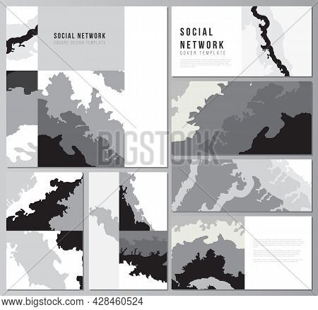 Vector Layouts Of Modern Social Network Mockups In Popular Formats For Cover Design, Website Design,