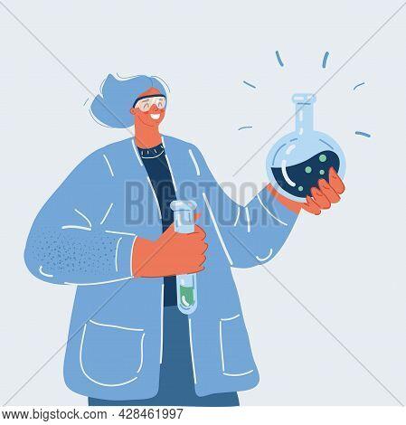 Vector Illustration Of Pharmacists. Chemistry Teacher, Chemist With Equipment In Her Hands.