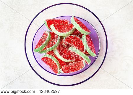 Jelly Candies. Top View Of Watermelon Jelly Candies Sprinkled With Sugar In A Transparent Bowl On A