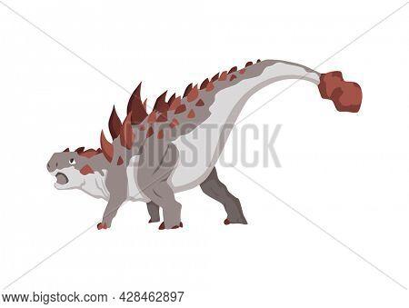 Ankylosaurus dinosaur flat icon. Colored isolated prehistoric reptile monster on white background. Herbivorous  cartoon dino animal