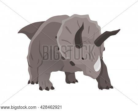 Triceratops dinosaur flat icon. Colored isolated prehistoric reptile monster on white background. Herbivorous  cartoon dino animal