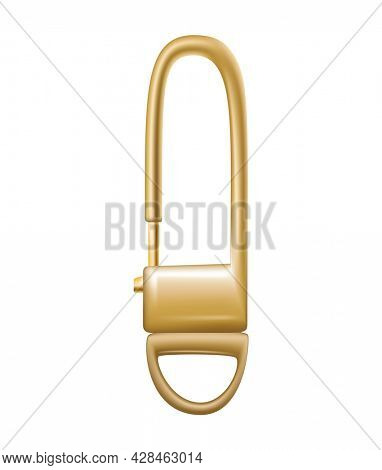 Carabiner clasp. Metal carabine for climbing rope link. Snap hook for bag, safety or protecting accessory. Claw clasp, climbing equipment