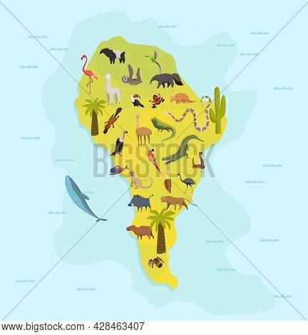 Animal map of south america. Nature fauna cartography concept . Geographical map with local fauna. Continent with mammals and sea life.  illustration in kids style