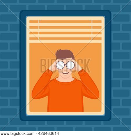 Vector Of A Nosy Man Spying Secretly On Neighbours