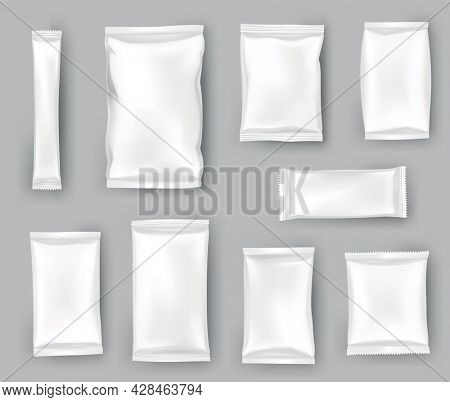 Packaging mockups or pouchs template set. Realistic glossy blank of doy pack, chip snacks, candy pack or cosmetic products package. Plastic packs template ready for branding
