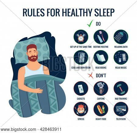 Infographics of healthy sleep tips. Sleeping man in bedroom and useful advices for better sleep. Recommendation for night rest. Bedtime routine for good sleep