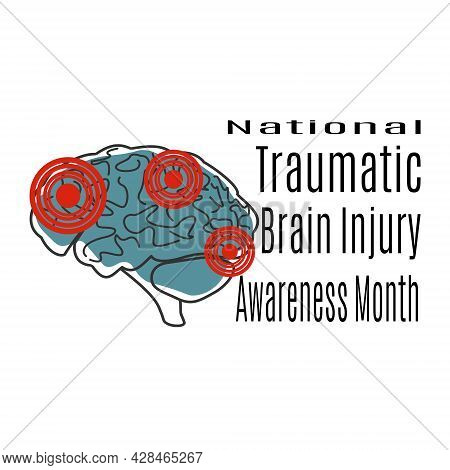 National Traumatic Brain Injury Awareness Month, Schematic Image Of Brain Injury For Banner Or Poste