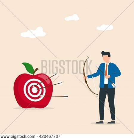 Business Precision As Leader Goal Achievement. Man Are Shooting Arrows At Targets, Reflecting The Wo