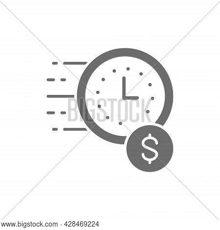 Vector Quick Loan, Fast Deposit Grey Icon.