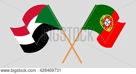 Crossed And Waving Flags Of Sudan And Portugal