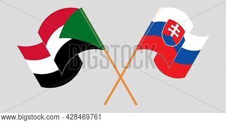 Crossed And Waving Flags Of Sudan And Slovakia