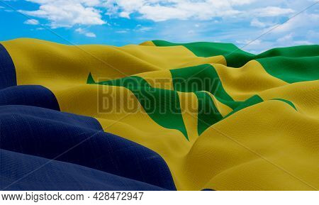 Saint Vincent And The Grenadines Flag In The Wind. Realistic And Wavy Fabric Flag. 3d Rendering.