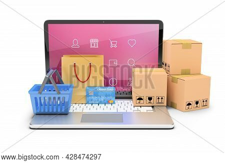 3d Concept Of E-commerce And Online Store. 3d Image. White Background.
