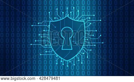 Protect And Security Concept. Digital Shield On Abstract Technology Background, Cyber Security And I