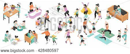 Motherhood Isometric Set With Family And Pastime Symbols Isolated Vector Illustration