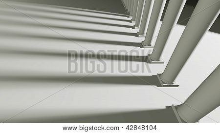 Row Of Columns And Shadows