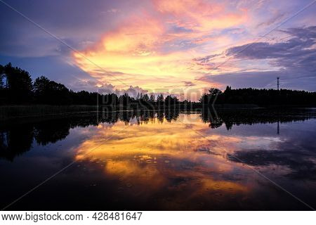 Landscape with Seliger lake in Tver oblast, Russia at sunset
