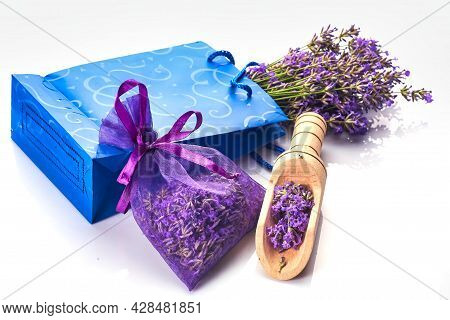 Fragrant Bag Or Pouch With Lavender Flowers On White Background.