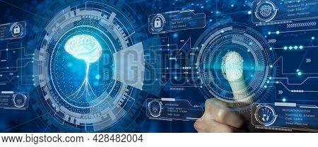 Protect Intellectual Property With Biometric Security. Converging Technology With Glowing Human Brai
