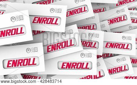 Enroll Enevelopes Register Sign Up Participate Invitation 3d Illustration
