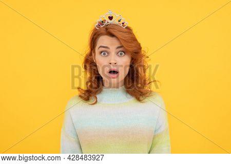 Oh No. Arrogant Princess In Tiara. Surprised Proud Woman. Egoistic Girl Wear Diadem.