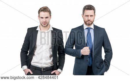 Serious Men Business Partner In Businesslike Suit Isolated On White, Partnership