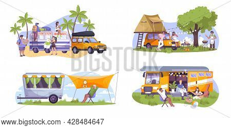 Flat Composition Set With Motor Home Trailer And Campers Doing Barbecue Playing Guitar Resting Outdo
