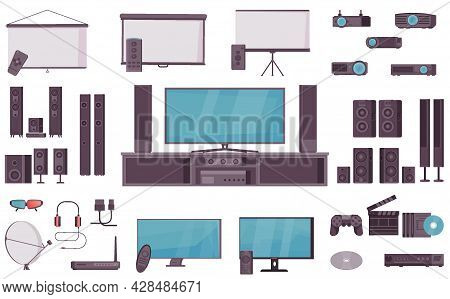 Home Theater System Set Of Cinema Projectors Audio Systems Monitors Screens Joystick Remote Control