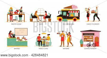 Confectionery Compositions Set With Cafe Visitors Eating Desserts Ice Cream Van Cake Order Waiters C