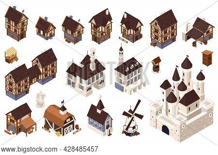 Medieval Architecture Isometric Icons Set With Mill Tavern And Castle Isolated Vector Illustraion