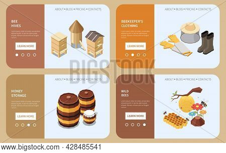 Beekeeping Landing Page Set With Bee Hives Beekeeper Clothing Honey Storage Wild Bees Isometric Icon