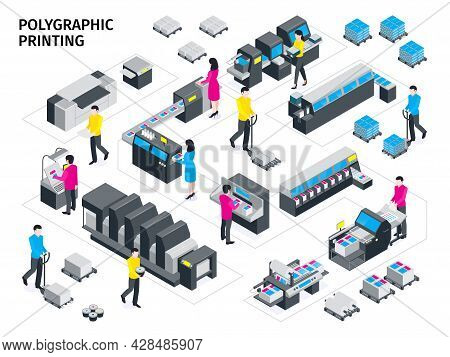 Isometric Colored Polygraphy Composition Color Printing And Various Types Of Printing Machines Vecto