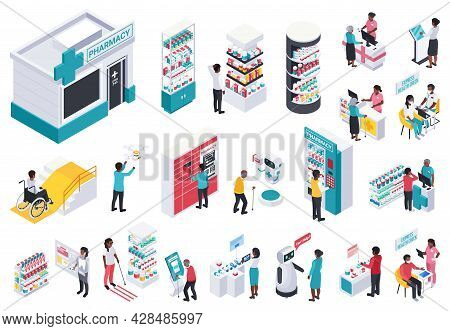 Modern Pharmacy Store Interior Isometric Set With Showcases Electronic Equipment Robotic Assistant P
