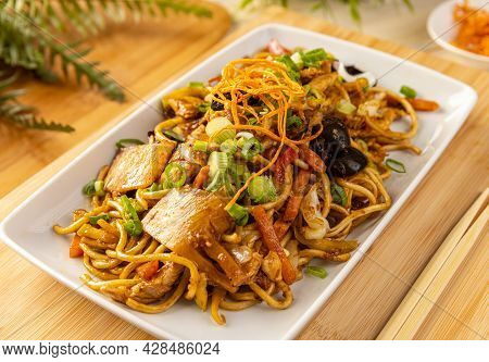 Noodles Stir Fry With Ear Wood Mushrooms, Chicken Breast And Vegetables