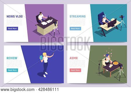 Live Streaming Blog Products Review News Vlog Relaxing Sensations Triggering Vlogger 4 Isometric Web