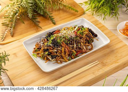Delicious Asian Noodles With Vegetables. Vegetarian Dish In Asian Style