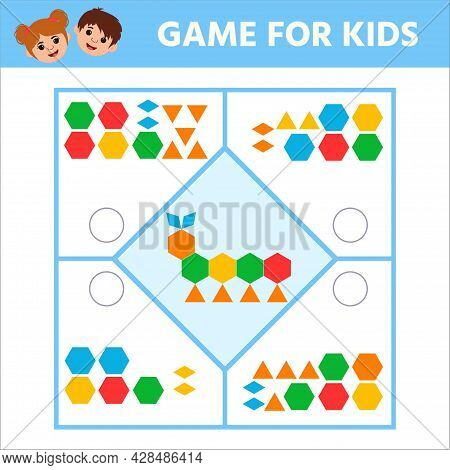 Education Logic Game For Preschool Kids. Connect The Details And Animals Of Geometric Shapes. Presch